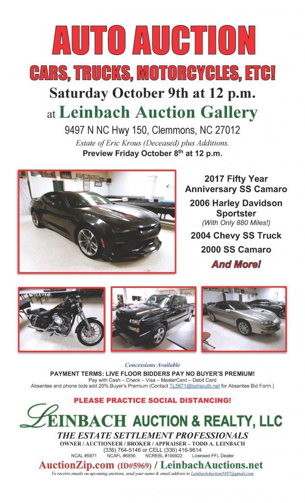 1009 car auction flyer